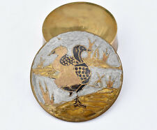 Antique Solid Brass Trinket Box with Hand Painted Enamel Top Lid