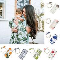 Newborn Infant Baby Floral Swaddle Headband Soft Sleeping Blanket Wrap Set