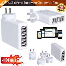 6 Puertos USB Multi Adaptador de viajes pared AC Cargador Enchufe de Reino Unido 4 A para teléfonos comprimidos
