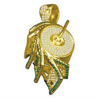 Real Yellow Gold On Silver $100 Money Roll Machine Pendant Simu Diamond Charm