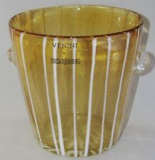 Venini DISARONNO Hand Blown Murano Venetian Art Glass Amber ICE BUCKET