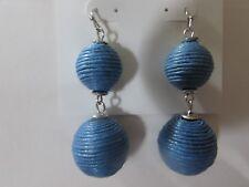 "NEW/card unworn 2"" long 2 light blue balls COLOR pierced earrings $16 price tag"