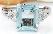 5.50 CTW Emerald Cut Aquamarine 14K White Gold Engagement Ring Gift For Fiancé