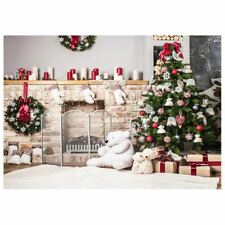 7x5ft Christmas Tree Backdrop Photography Brick Fireplace for Newborn Chris M0L4