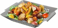 Barbeque BBQ Basket Vegetable Bowl Grill Hole Stainless Steel Pan Grilling Wok