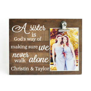 Personalized Picture Frame, Photo Board With Photo Clip, Sister Picture Frame