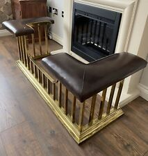 More details for beautiful antique brass and leather club fender / fireplace seat