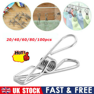 Stainless Steel Washing Line Clothes Pegs Hang Pins Metal Wire Clips Fixed Clip.
