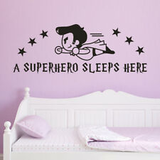 Superhero Sleeps Here Wall Sticker Flying Super Hero Kid Boy Bedroom Decor Decal