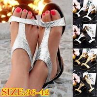 Women Gladiator Sandals Flat T-Strap Summer Slipper T Shoes Casual Flip Flop 50