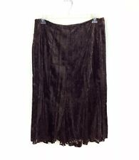 Coldwater Creek Brown Maxi Skirt Paisley Velour Womens Large 14-16
