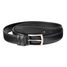 "Saffiano Leather Belt Black 1-1/8"" Men's belts Thin Classic Fashion Dress Sz 38"""