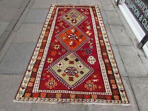 Vintage Hand Made Traditional Oriental Wool Red Orange Long Large Rug 236x123cm