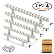 5Pcs Stainless Steel T Bar Handle Pull Knob Kitchen Cabinet Drawer Cupboard Door