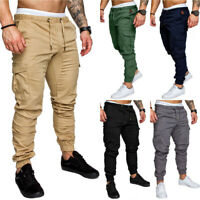 Men's Slim Fit Urban Jogger Cargo Straight Leg Trousers Casual Pencil Pants New