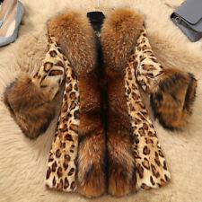 Womens Medium-long Style Leopard Print Faux Fur Plus Size Sexy Style Coat C55