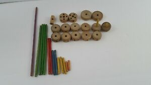 """30 pcs Vintage Original small Tinker Toy wood Pieces Rods Hubs Replacement 1.25"""""""