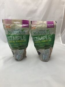 2-Pk Nylabone Nutri Dent Natural Dental Chew Dog Treats Fresh Breath, Medium D3