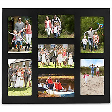 VonHaus 7x Decorative Collage Picture Frames for 4x6 Photos Wooden Black