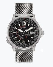 Citizen Men's Eco-Drive Nighthawk Pilots Silver Milanese Men's Watch BJ7008-51E