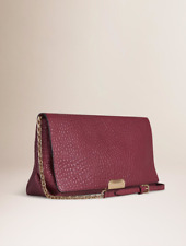 NWT Burberry Medium Mildenhall Signature Grain Leather Clutch Bag Dark Plum
