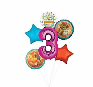 Lion King Party Supplies 3rd Birthday Balloon Bouquet Decorations - Pink Numb...
