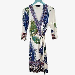 HALE BOB Women's 100% Silk Beaded Tropical Mixed Print Wrap Dress Size M Medium