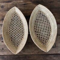 2 Pack Woven Wicker Storage Basket Rattan Thai Handmade Craft Home Decor Vintage