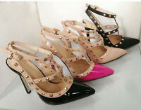 2019 Womens Pointed Toe Studded Spike Pumps Stiletto High Heel Shoes