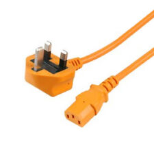UK Male Plug to C13 Female Mains Extension Cable ORANGE 2m 2 metres