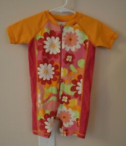 Hanna Andersson Orange Pink Floral Zip Swimsuit Girls size 80 (2T)