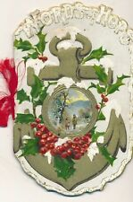 c1910 Words of Hope Die Cut Embossed Christmas 12p. Card, Art Lithograph Publ.