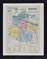 1864 Le Bealle Map France - Department Ardennes - Mezieres Sedan Rocroi Rethel