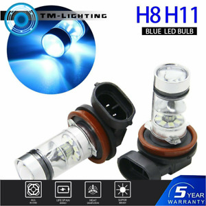 2x 8000K Ice Blue H8 H11 H9 100W LED Fog Light Headlight Bulb For Audi BMW Chevy