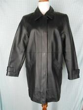 JACQUELIN FERRAR womens M pet Black LEATHER Coat Quilted Lining Full Zip w Snaps