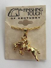 New Gold Tone English Equestrian Jumping Horse & Rider Pendant Necklace