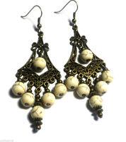 Howlite Bronze Earrings Chandelier Drop Dangle Antique Vintage Style Pierced