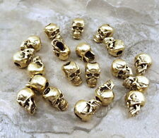 20  Gold Tone Pewter Beads - 7mm SKULL with Vertical Hole  - 5111