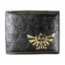 Oficial Negro Leyenda De Zelda En Relieve Bi-fold Wallet-Gold Triforce Nintendo