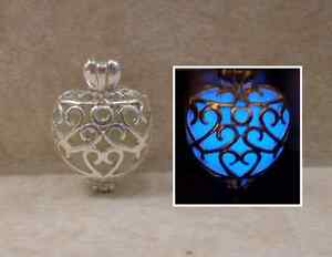 GLOW IN THE DARK Double Sided Hearts within a Heart Swirl Pendant Charm Necklace