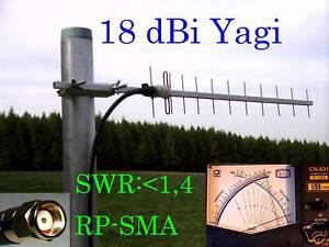 WLAN Antenne Richtantenne Yagi 18 dBi 2,4 GHz 1m H155 RP-SMA Stecker