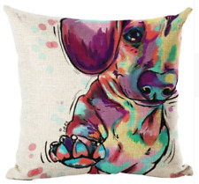 DACHSHUND / SAUSAGE DOG Cushion Cover! Watercolour Art Pillow LINEN 45cm Gift UK