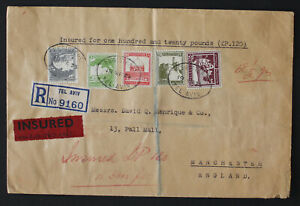 Palestine Mandate, 1935, Reg Insured Cover to England, High Franking #a421