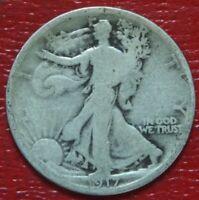 1917 Walking Liberty Half Dollar , Circulated , 90% Silver US Coin