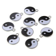 10pcs Black/White Enamel Tai Chi Yin Yang Ba Gua  Charms Pendant Beads 18mm