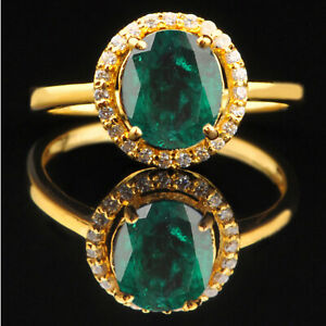 14KT Yellow Gold With 1.60Ct AA Natural Green Emerald IGI Certified Diamond Ring