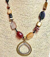 SILPADA 925 Sterling Silver & Brass Double Teardrop Pendant Stone Necklace N1787