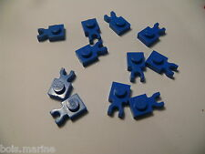 Lego 10 clips plats bleus set 7180 4565 6584 6441 / 10 blue plate with clip