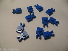 Lego 10 clips plats bleus set 7180 4565 6584 6441 / 10 blue plate with clip
