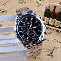 Luxury Stainless Steel Men's Date Analog Quartz Silver/Black Wrist Watch